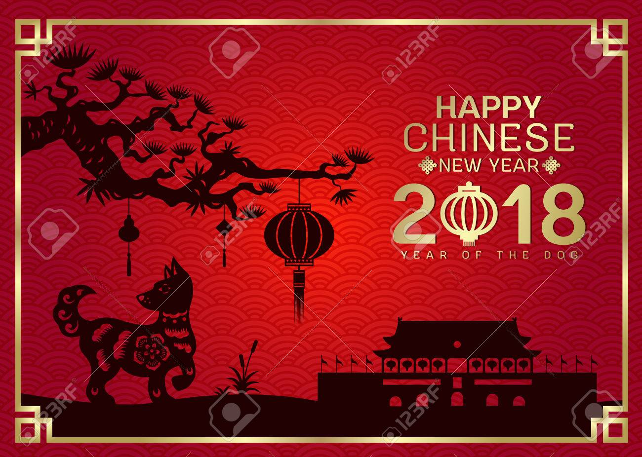 happy chinese new year 2018 with silhouette paper cut dog zodiac and china knot and lantern - 2018 Chinese New Year