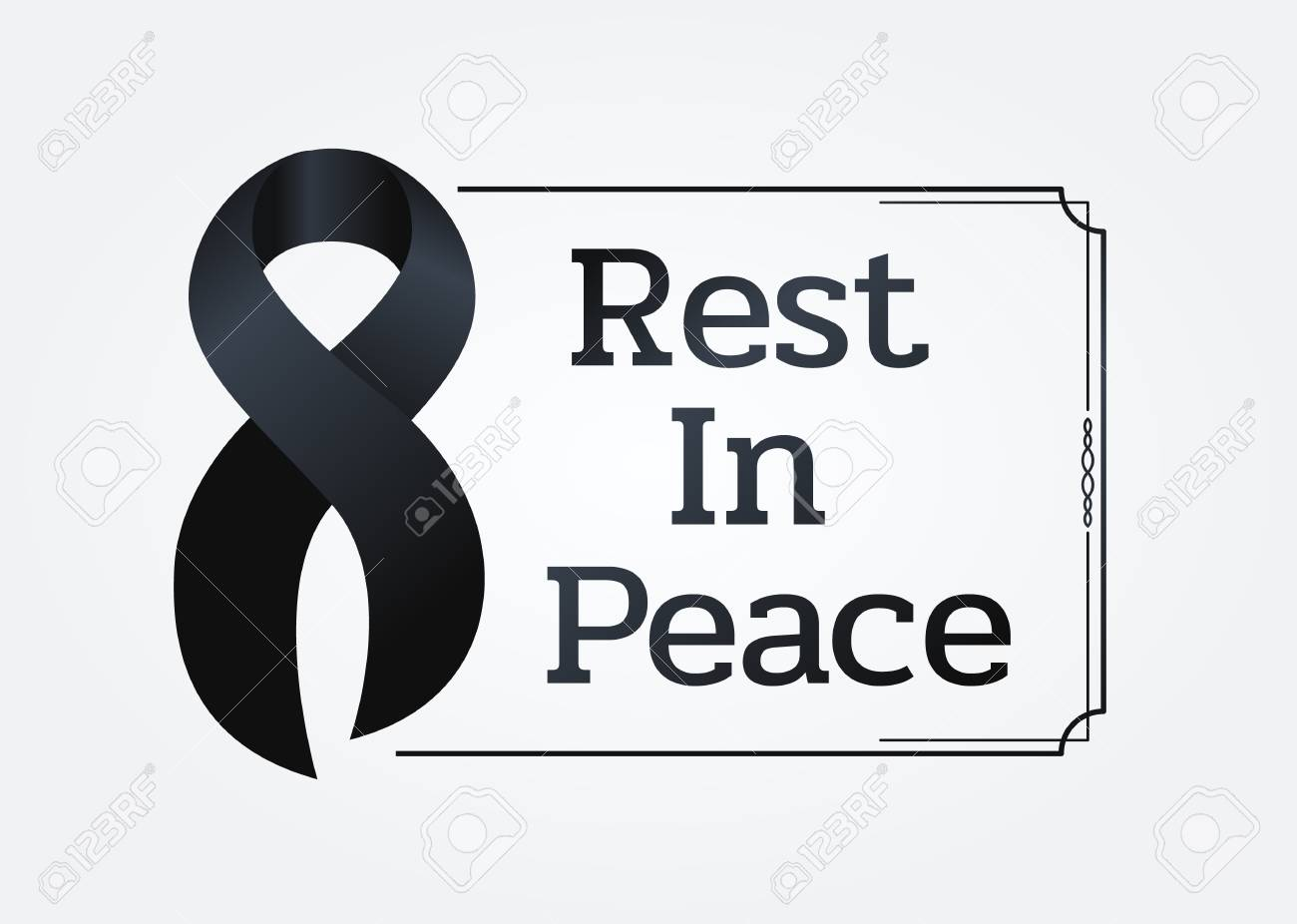 Black Ribbon Sign And Rest In Peace Text In Line Frame For Respect