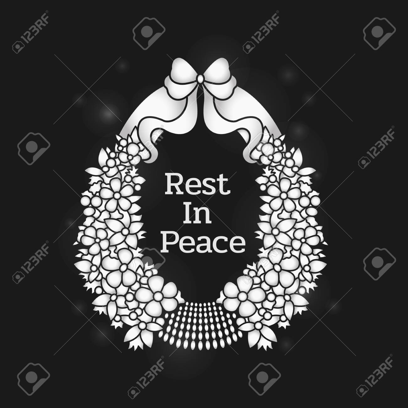 Funeral banner with rest in peace text in flowers wreath on black funeral banner with rest in peace text in flowers wreath on black background vector design stock izmirmasajfo