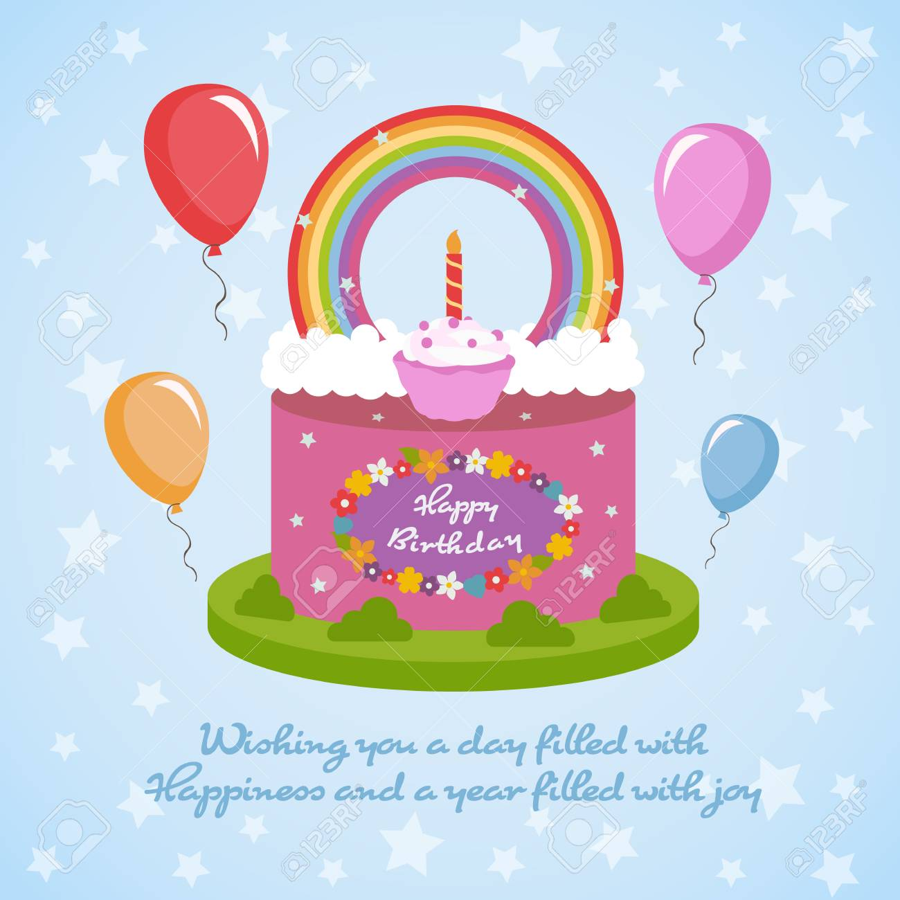 Happy Birthday Card Design Template Royalty Free Cliparts Vectors