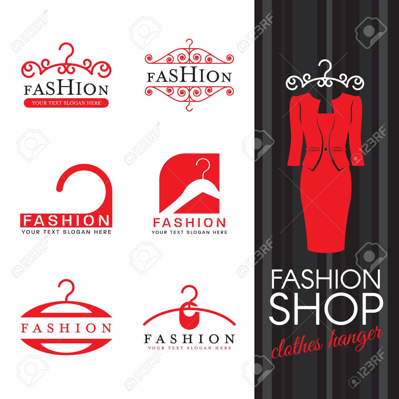 Fashion Shop Logo Red Clothes Hanger Logo Sign Vector Set Design Royalty Free Cliparts Vectors And Stock Illustration Image 91623133