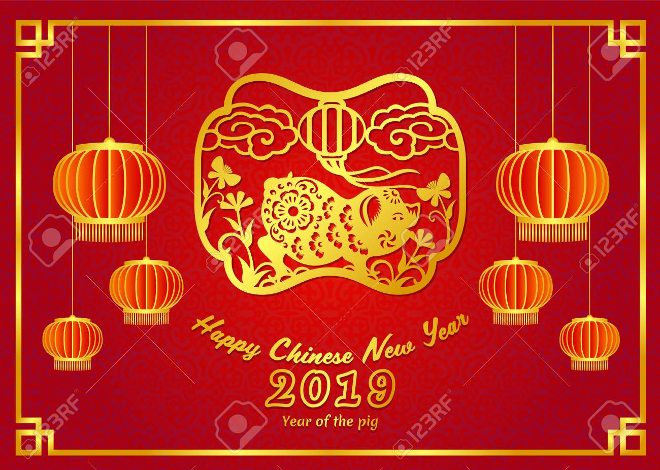 Happy Chinese New Year 2019 Card With Gold Pig Zodiac Sign And