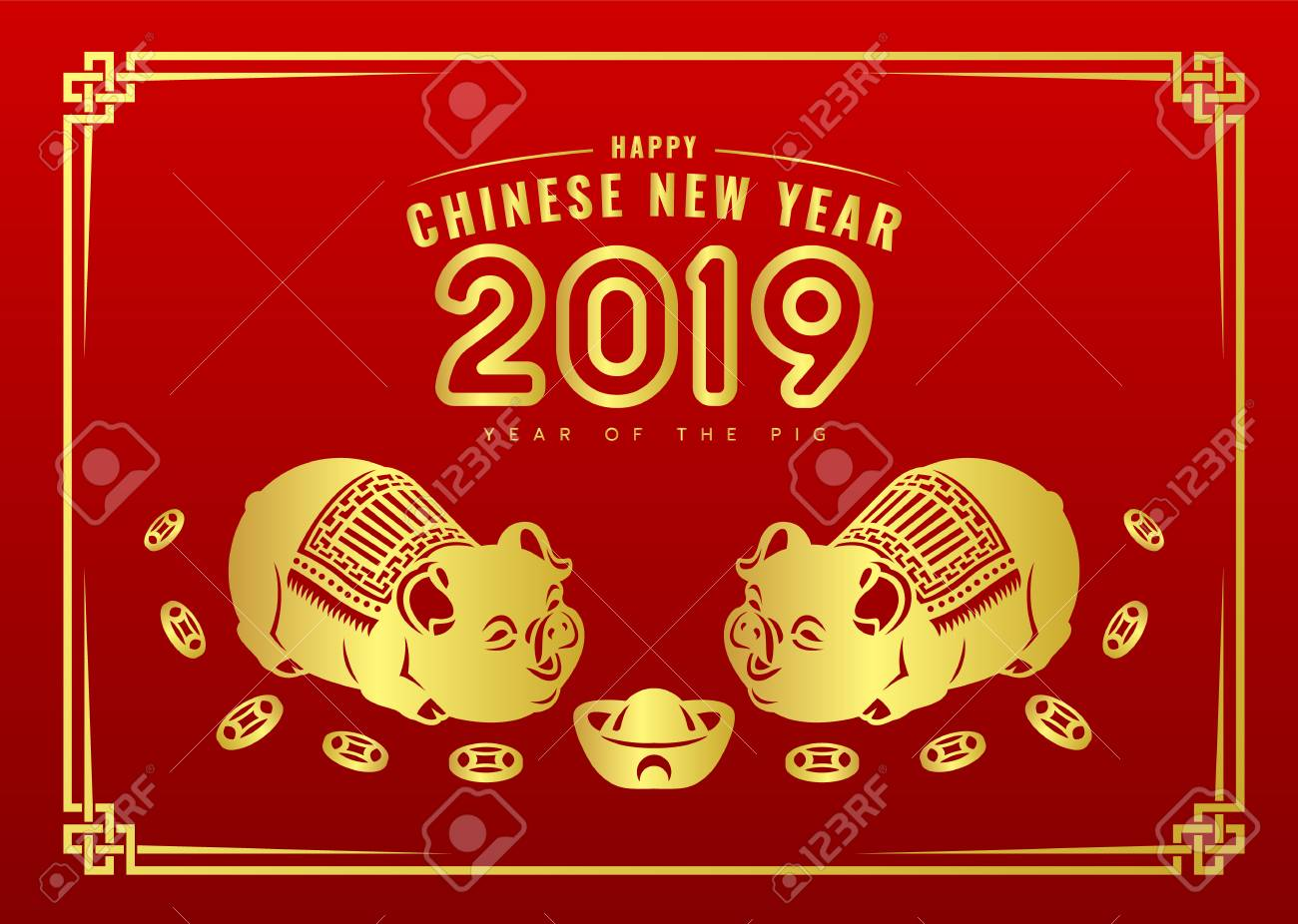 Happy Chinese New Year 2019 Banner Card With Gold Twin Pig Zodiac