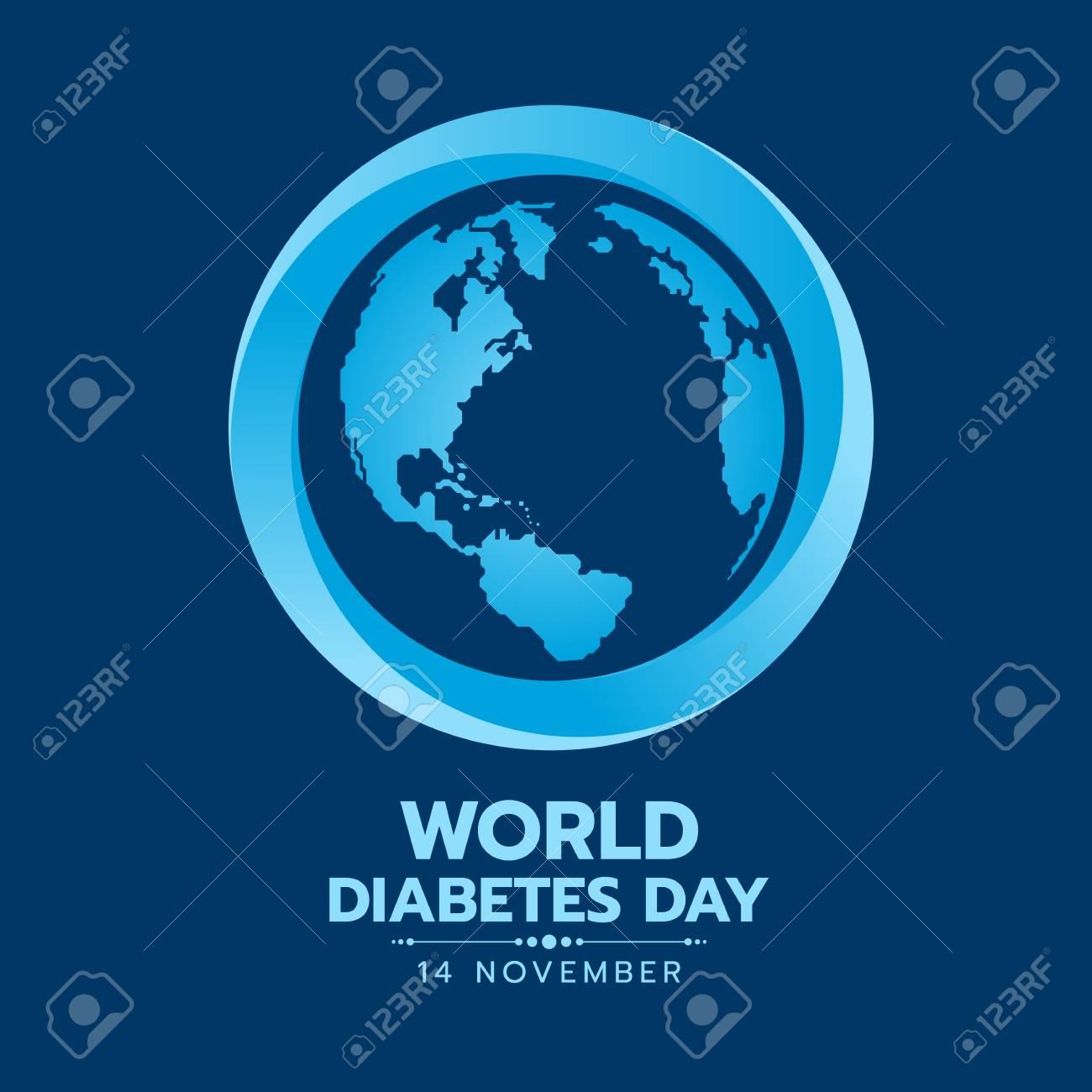 World Diabetes Day Banner With Earth World Map Sign In Blue Circle