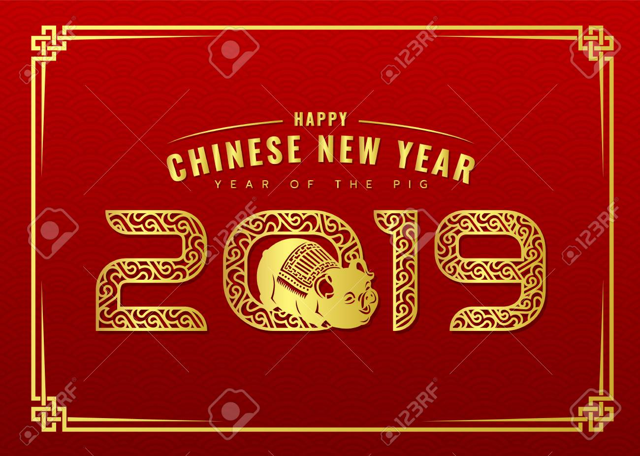 Happy Chinese New Year Card With Gold Abstract Line Border 2019
