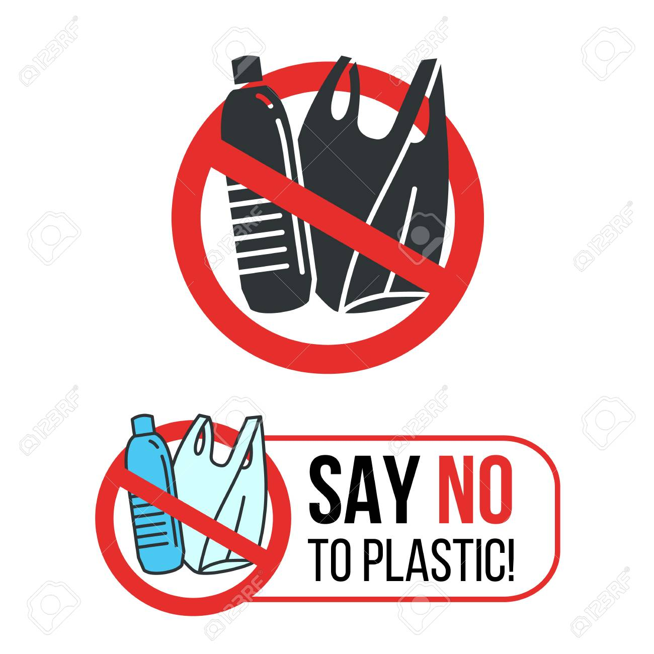 Say no to Plastic sign with Plastic water bottle and plastic bag in red stop circle vector design - 104146397
