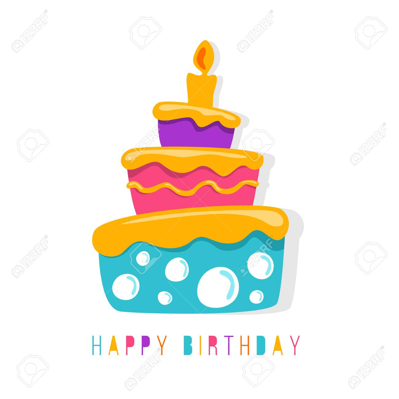 Happy Birthday Banner With Abstract Simple Cute Cake Symbol Vector Design Stock