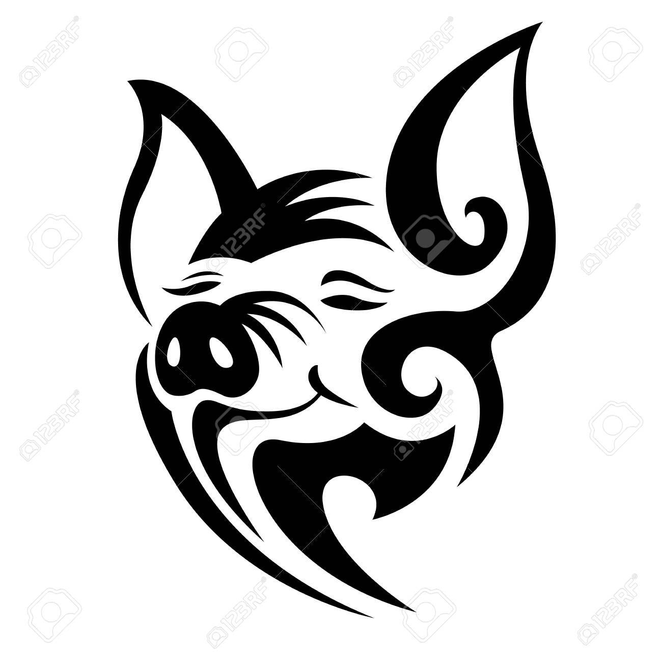 Abstract Head Pig Tattoo Sign Style Art Design