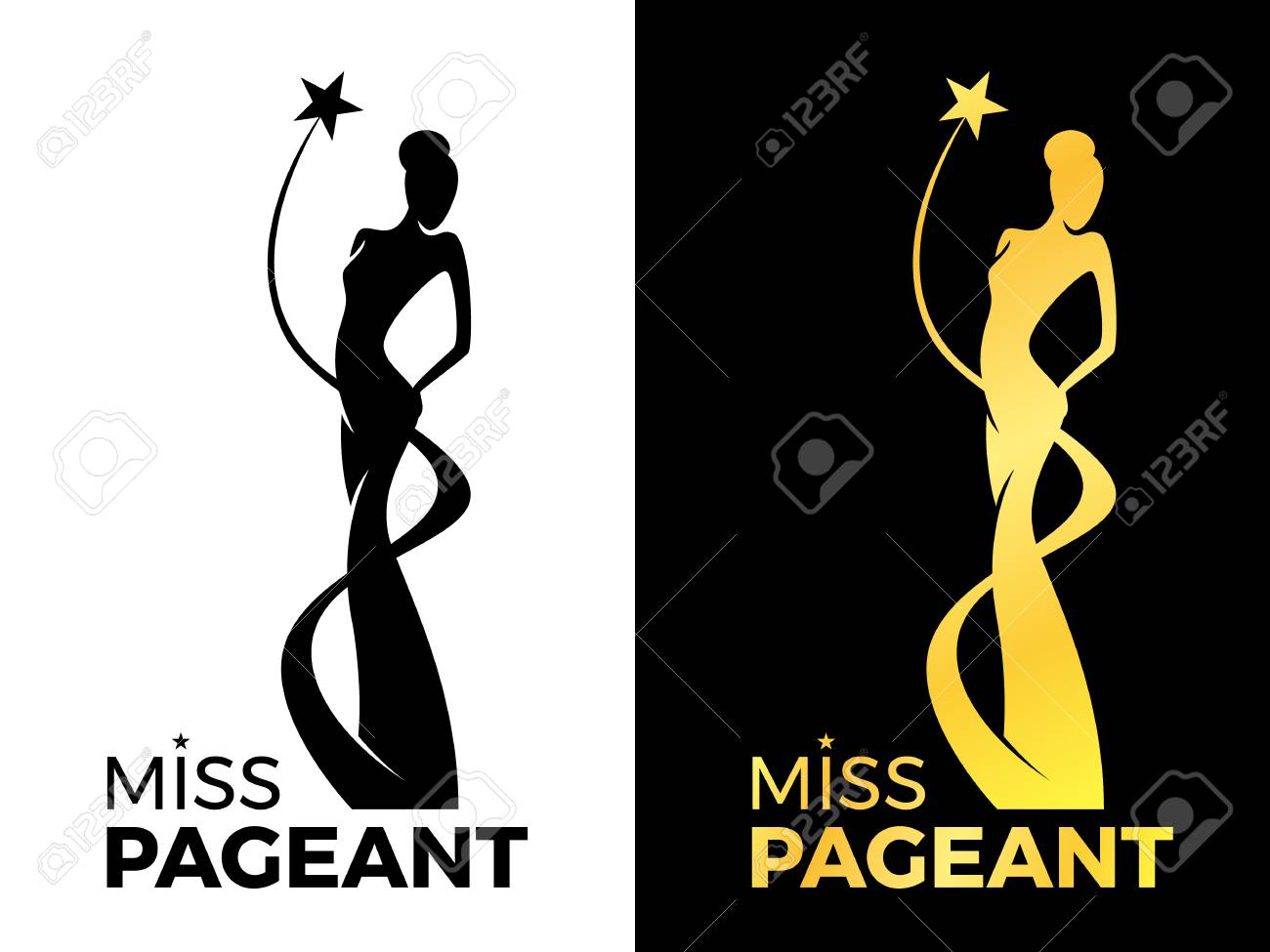 Miss lady pageant sign with queen wears evening gown and star around lady queen vector design - 109970199