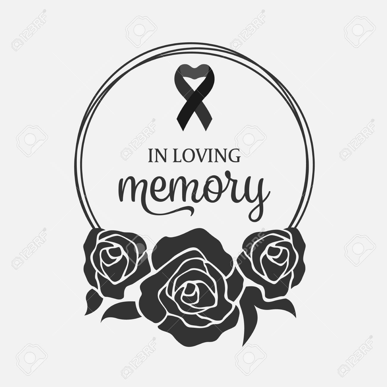 In loving Memory text and ribbon in Black Wreath rose - 111065128