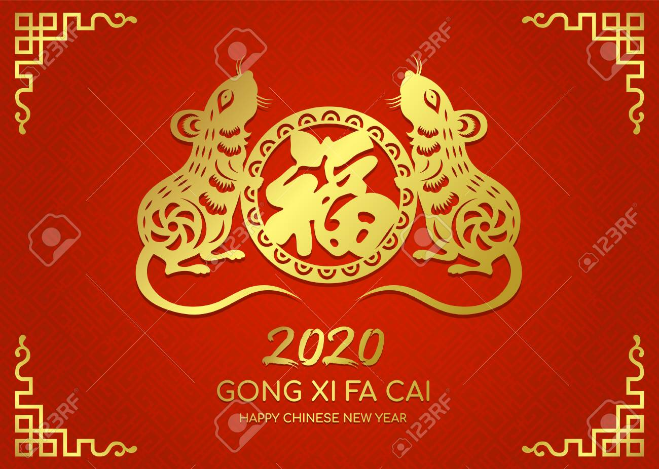 Chinese New Year 2020 Happy Chinese New Year 2020 Card With Gold Paper Cut Twin Rat