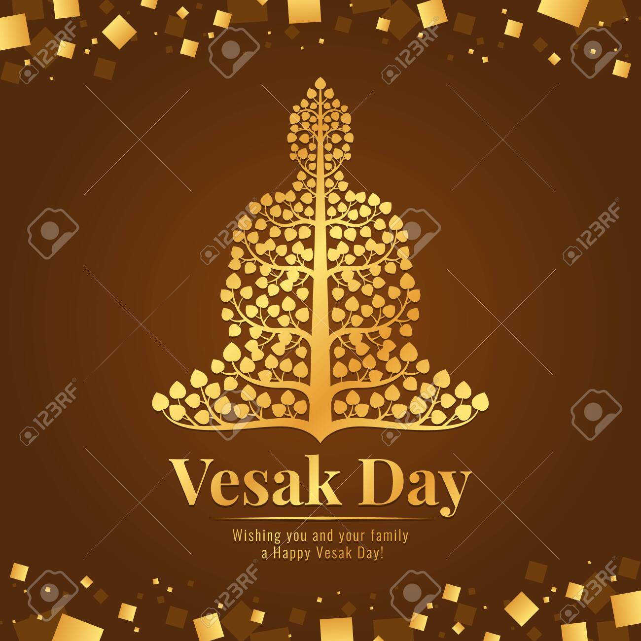 Vesak day banner gold Buddha with bodhi tree sign on abstract brown gold background design - 129420266