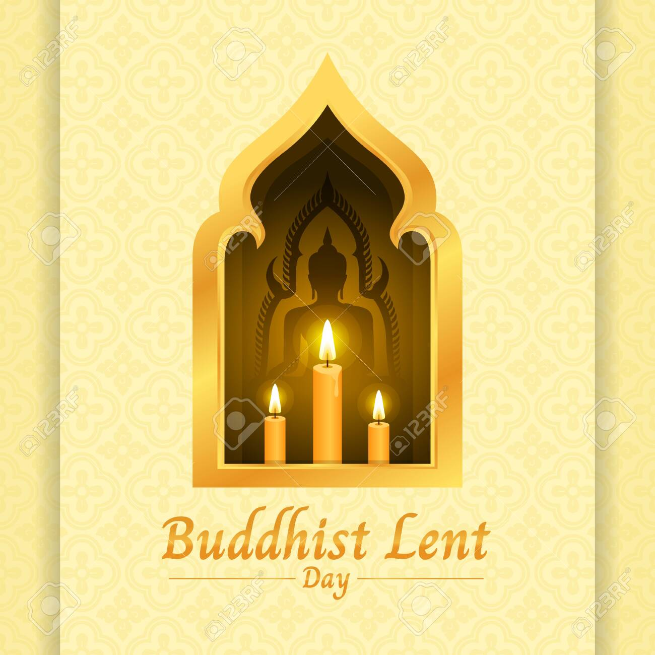 Buddhist lent day banner with yellow candle light and Buddha sign in gold window on soft yellow texture - 125967282