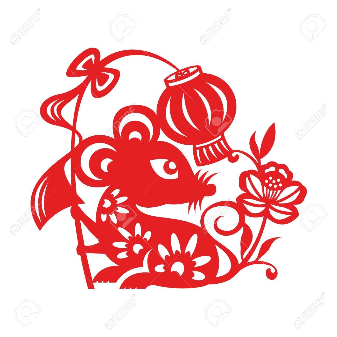 Red paper cut rat zodiac hold lantern sign and flower isolate on white background vector design - 126257989
