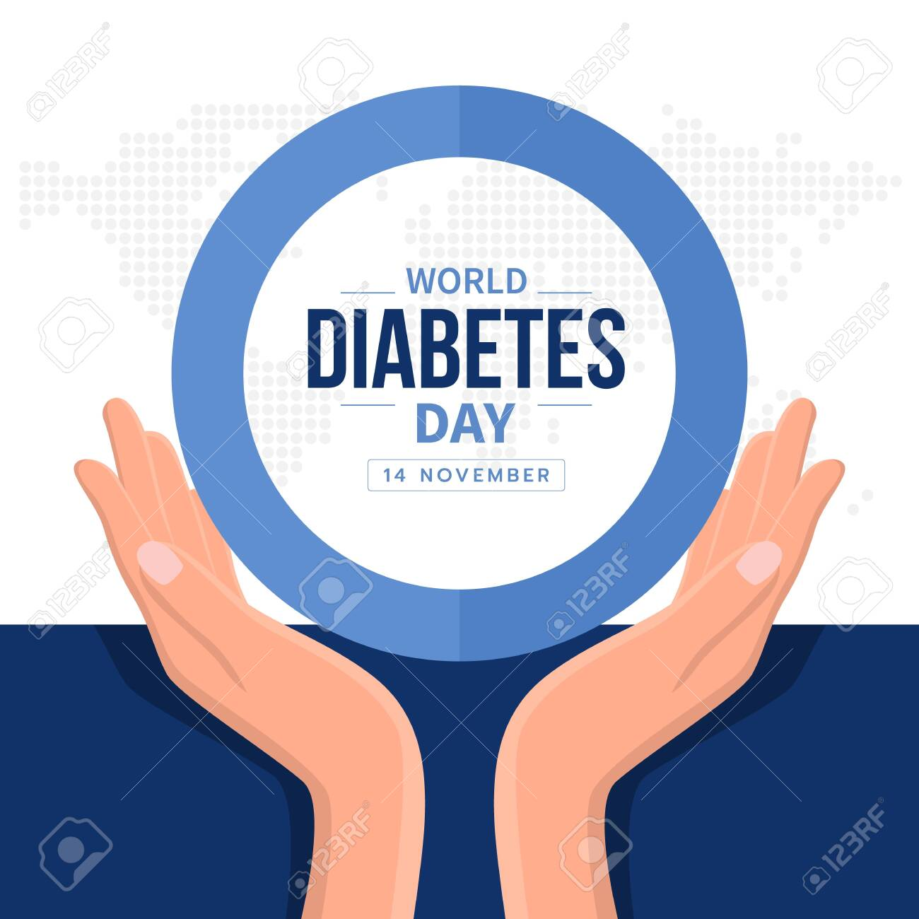 World diabetes day banner with hand hold care text in blue circle ring sign and abstract dot map earth world texture - 128690977