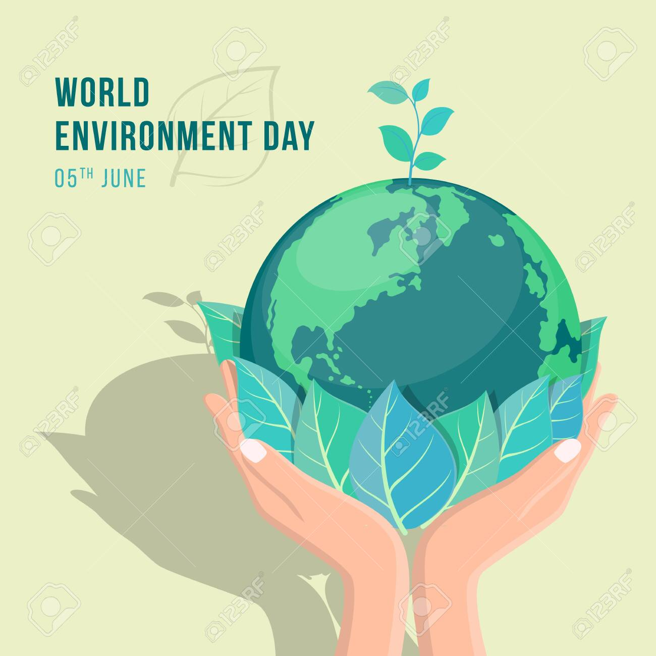 world environment day banner with hand hold leaf and seed plant on circle earth world vector design - 131991849