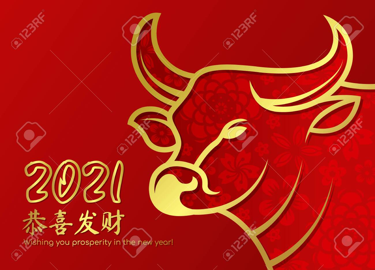 Chinese new year 2021 card - ox cow zodiac gold border line and abstract flower texture - 132443386