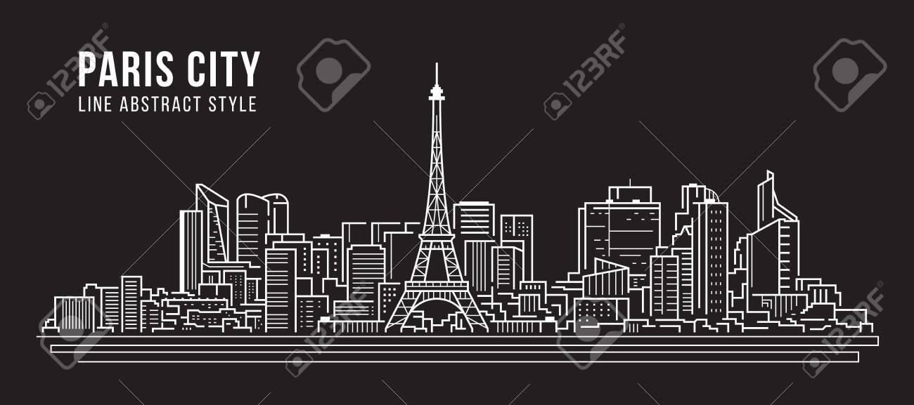 Cityscape Building panorama Line art Vector Illustration design -paris city - 134029098