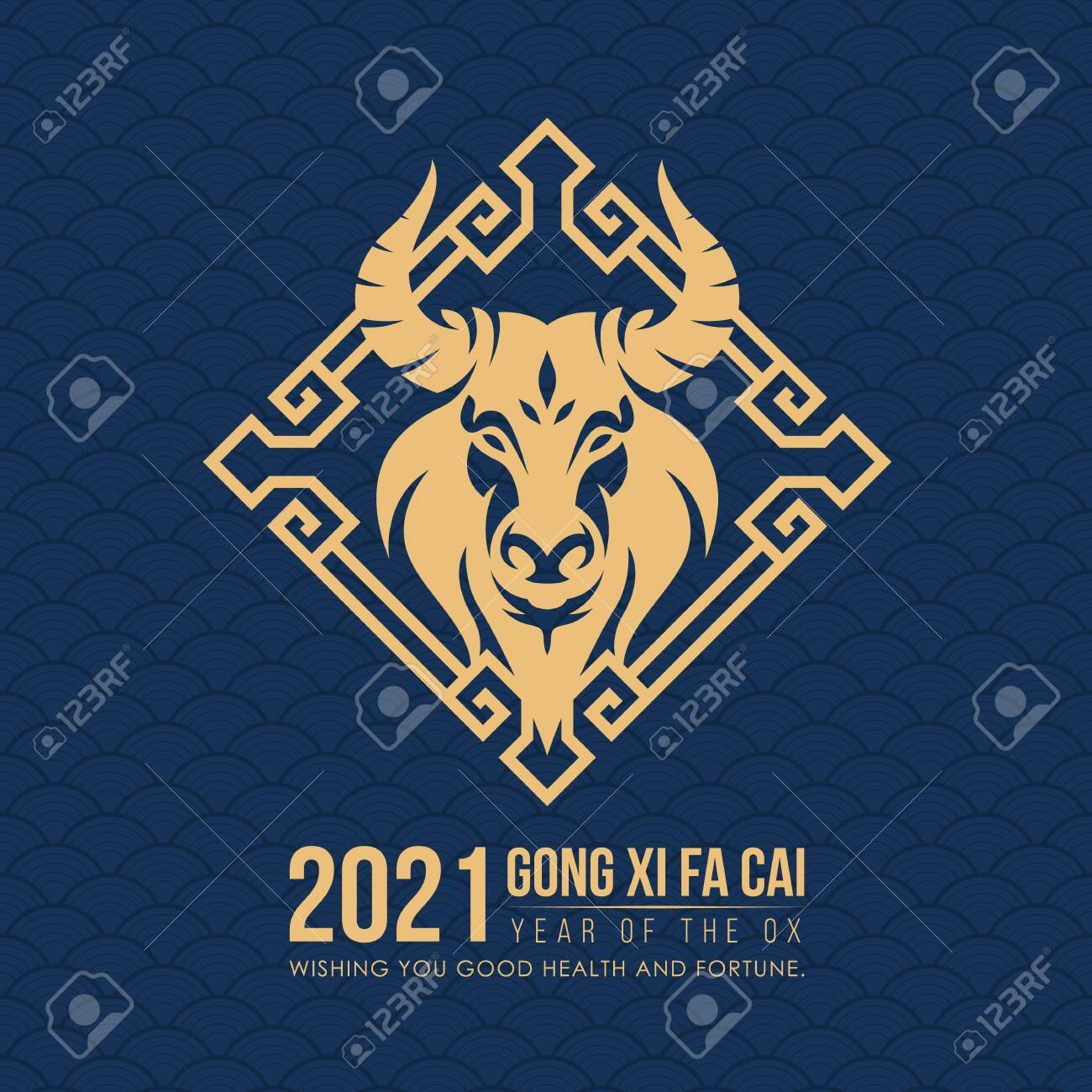 Happy chinese new year 2021 with gold head ox zodiac sign in china frame on dark blue chinese texture background vector design - 152407524