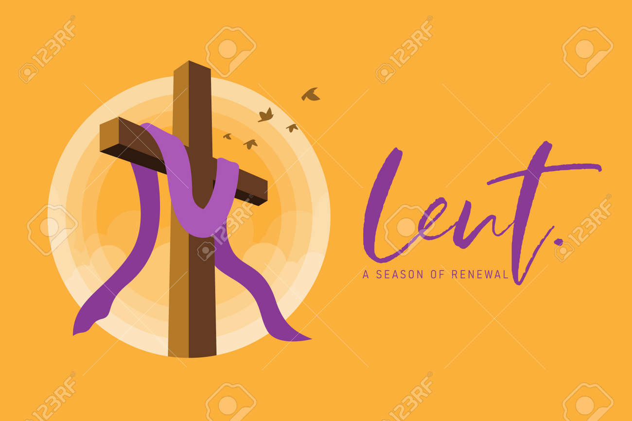 lent, a season of renewal banner with lent cross crucifix in circle sunset and bird flying on yellow background vector design - 164556231