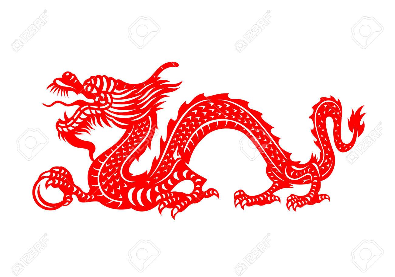Red Chinese Zodiac Animals Papercutting - china dragon holding orb - 169865810