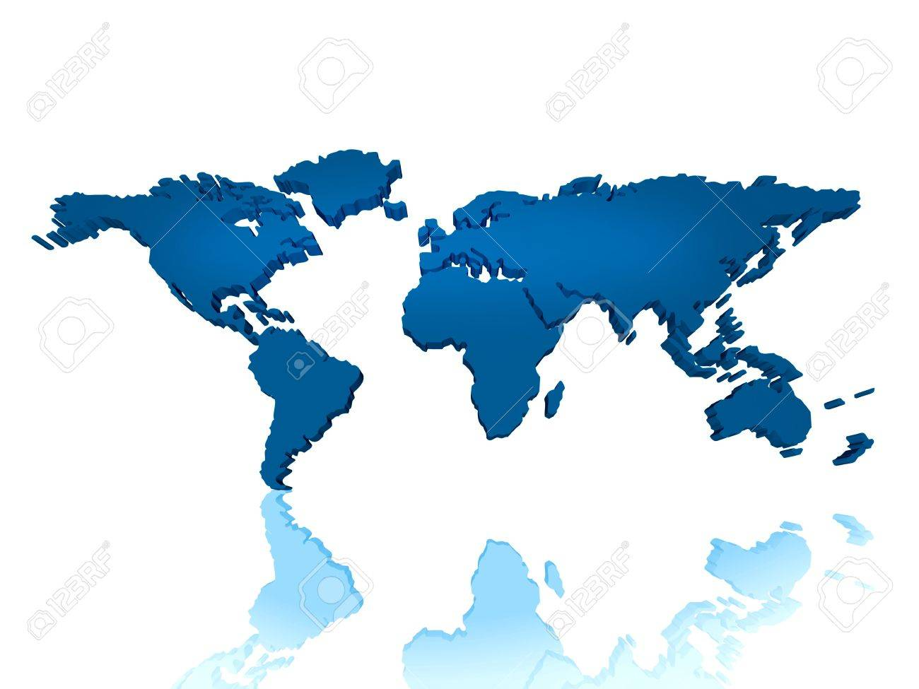 This Is A Continental Regional 3d World Map Can Be Used For Stock