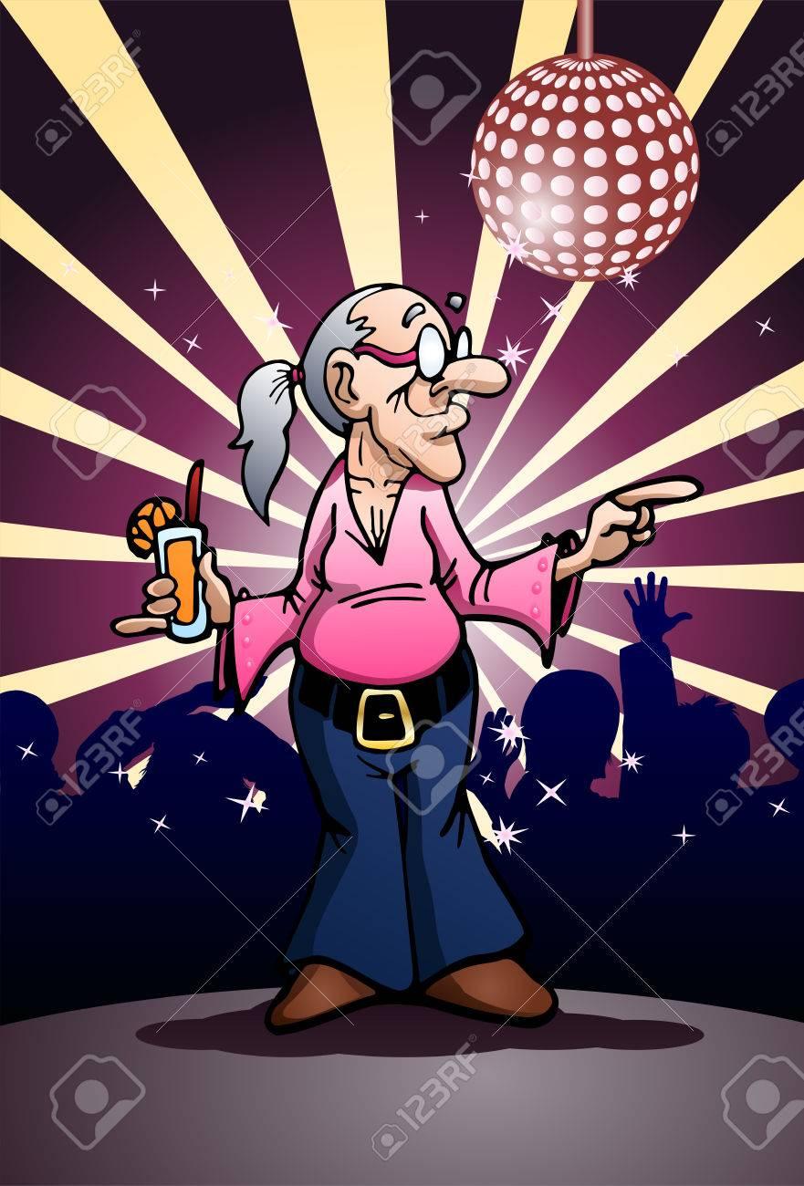 高級クラブの背景に党を踊るおばあちゃんのイラスト の写真素材画像
