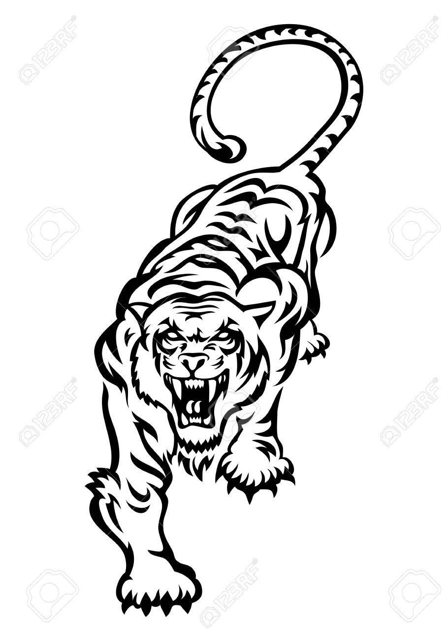 Illustration D Un Tatouage De Tigre Sauvage Sur Fond Blanc Isole