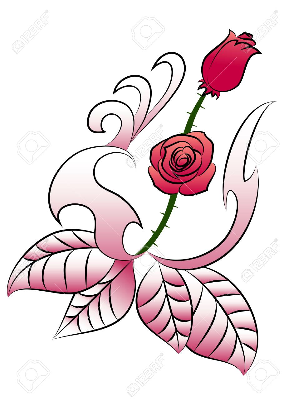 Illustration Of A Pretty Flowers Tattoo On Isolated White Background