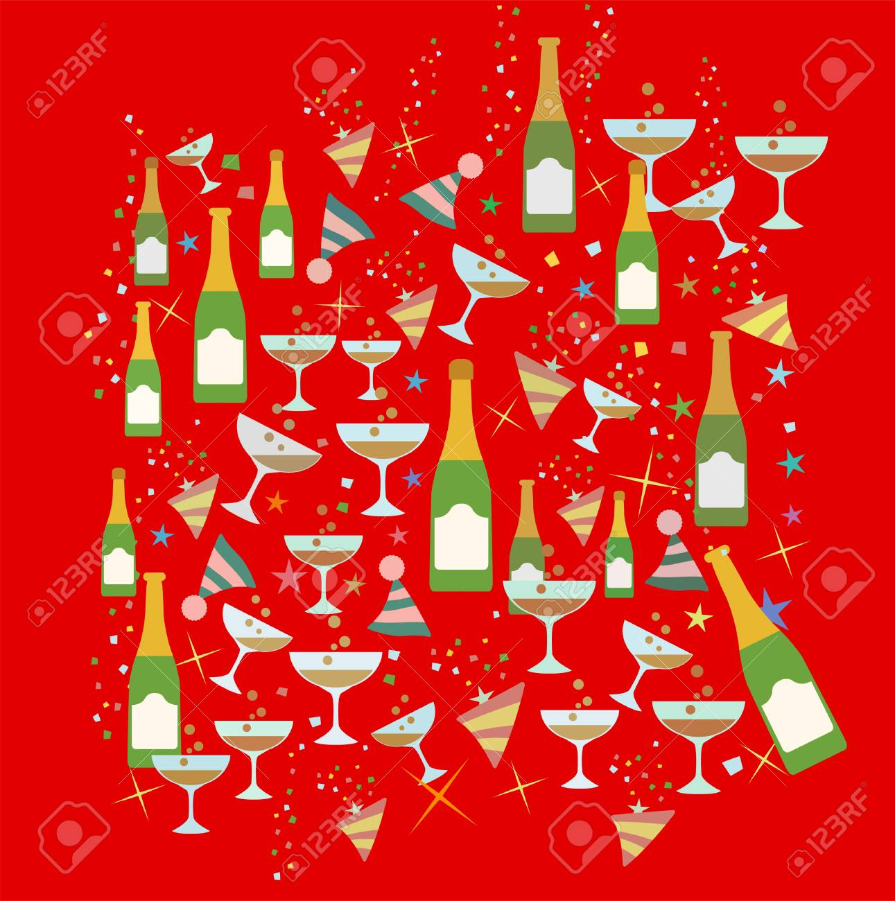 celebration toast christmas and new year party theme pattern theme illustration stock illustration 99006470