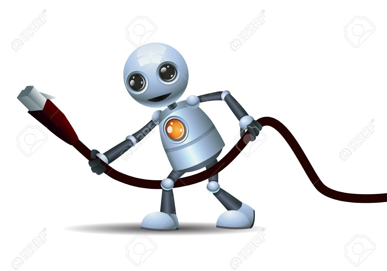 Illustration Of A Happy Droid Little Robot Hold Hub Wire On Isolated ...