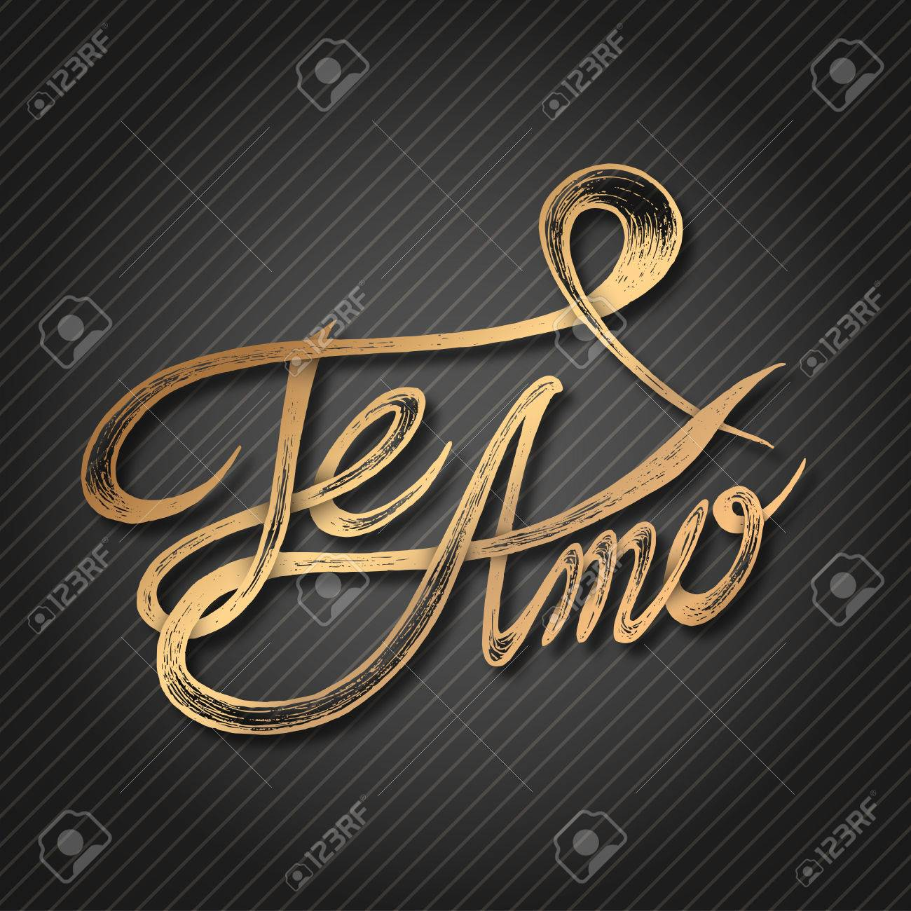Te Amo Quotes Te Amo I Love You  Hand Drawn Quotes 3D Gold On Blackboard
