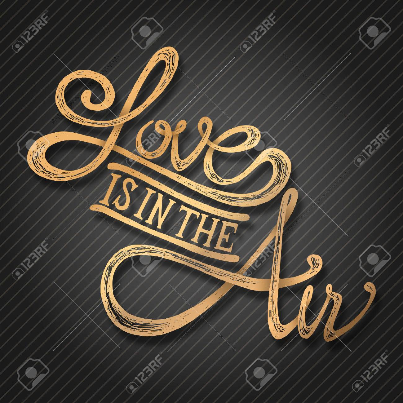 Stock illustration 3d red text quot yes quot stock illustration royalty - Love Is In The Air Hand Drawn Quotes 3d Gold On Blackboard Stock Vector
