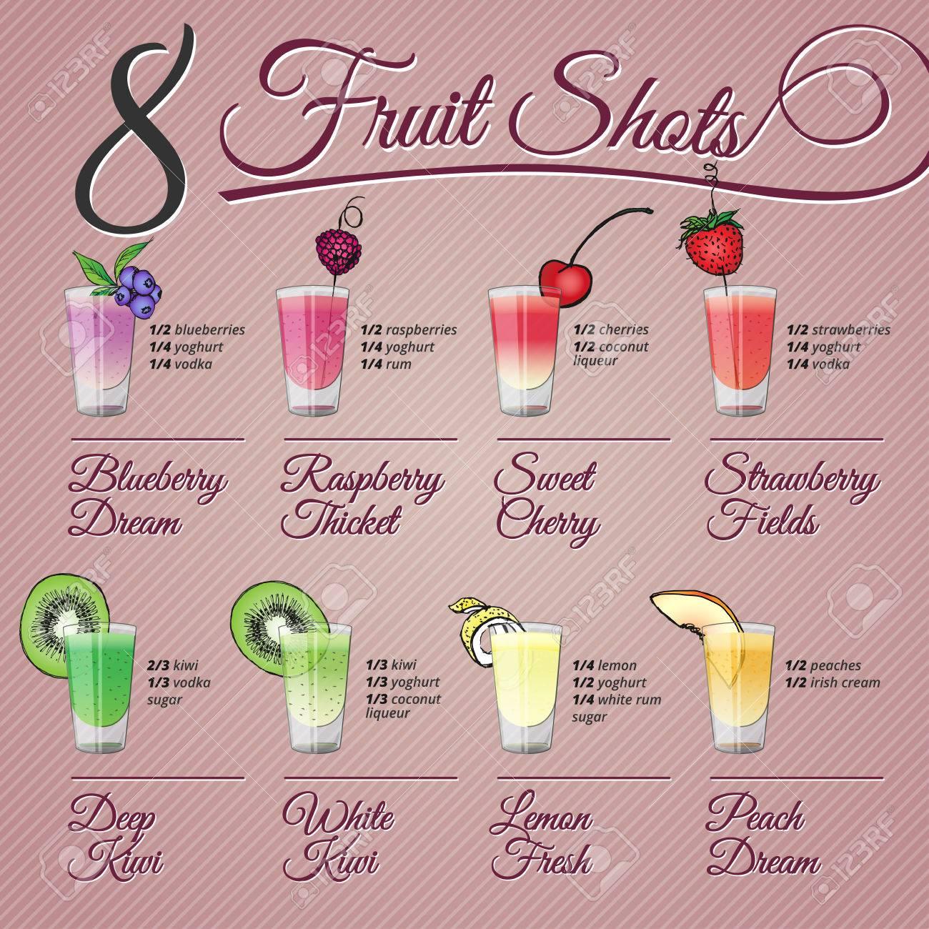 Acht Schüsse Früchte Alkohol Rezepte Und Vektor-Illustrationen Mit ...