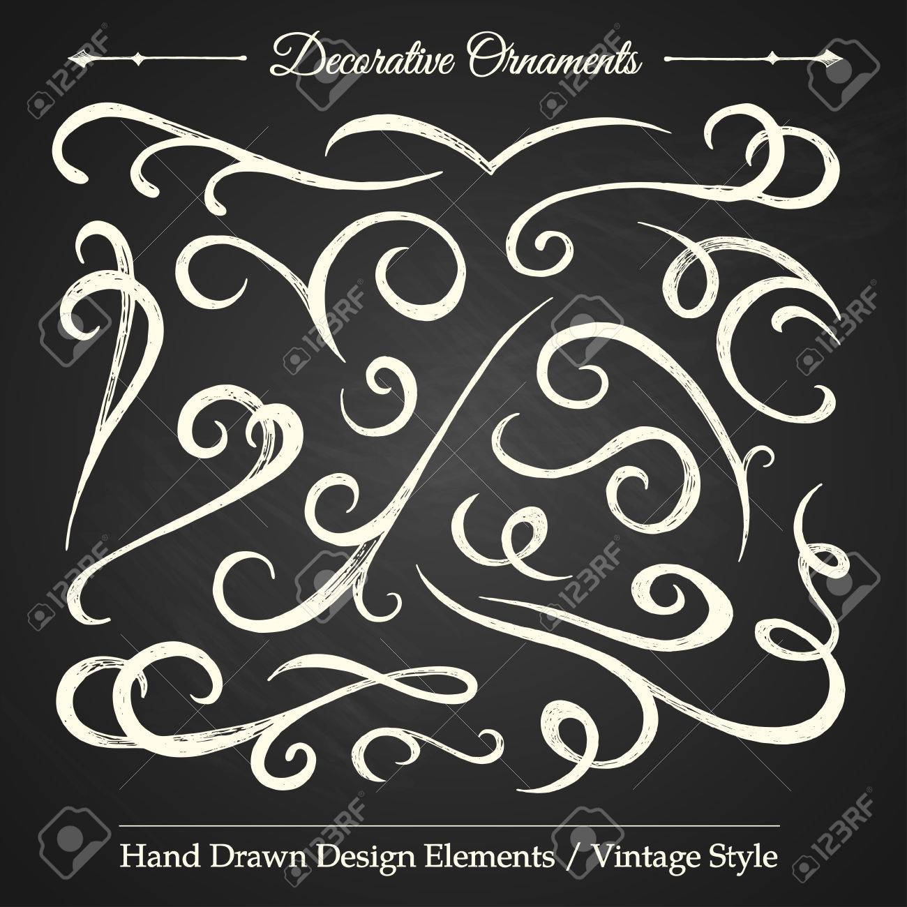 Vintage style ornaments - Decorative Ornaments Hand Drawn Design Elements Vintage Style On Chalkboard Stock Vector 26764403