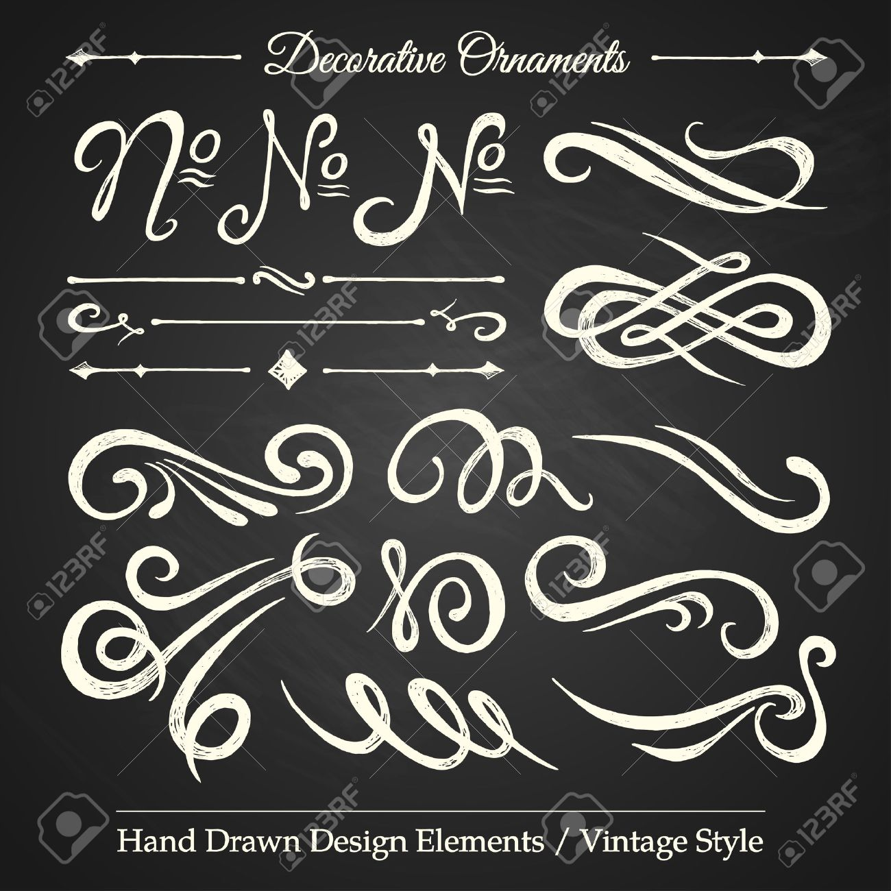 Vintage style ornaments - Decorative Ornaments Hand Drawn Design Elements Vintage Style On Chalkboard Stock Vector 26764404