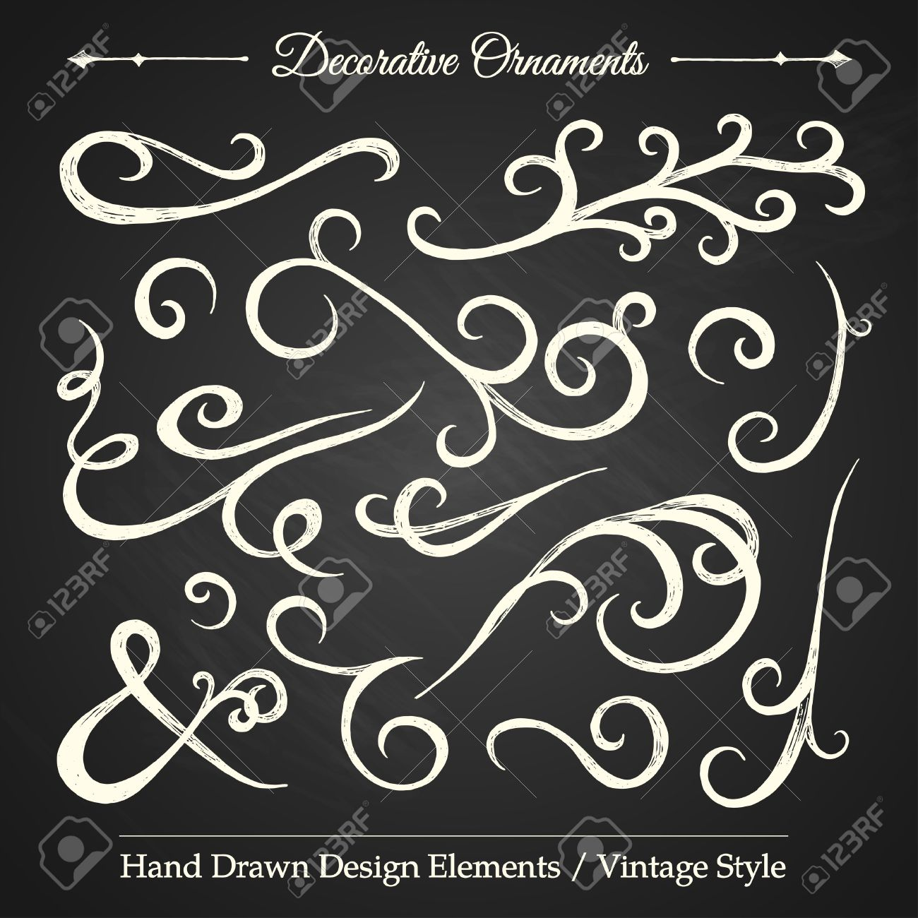 Vintage style ornaments - Decorative Ornaments Hand Drawn Design Elements Vintage Style On Chalkboard Stock Vector 26764406