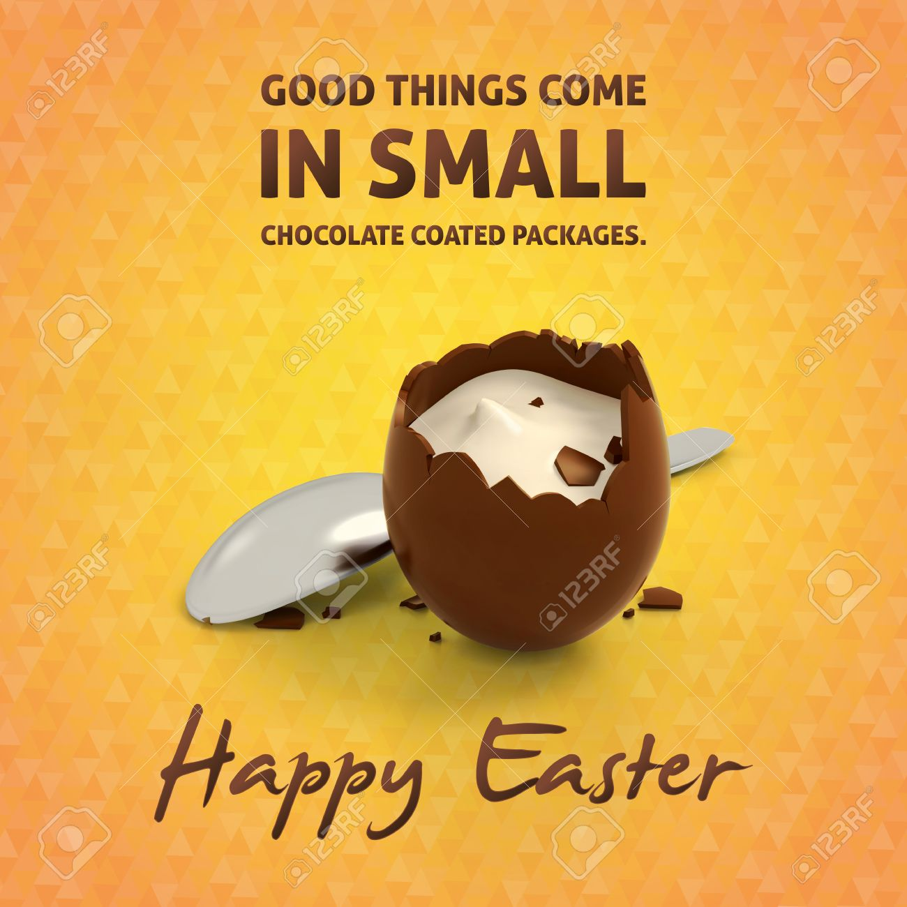 Happy Easter Eggs Quotes And Illustration Of Crashed Chocolate ...