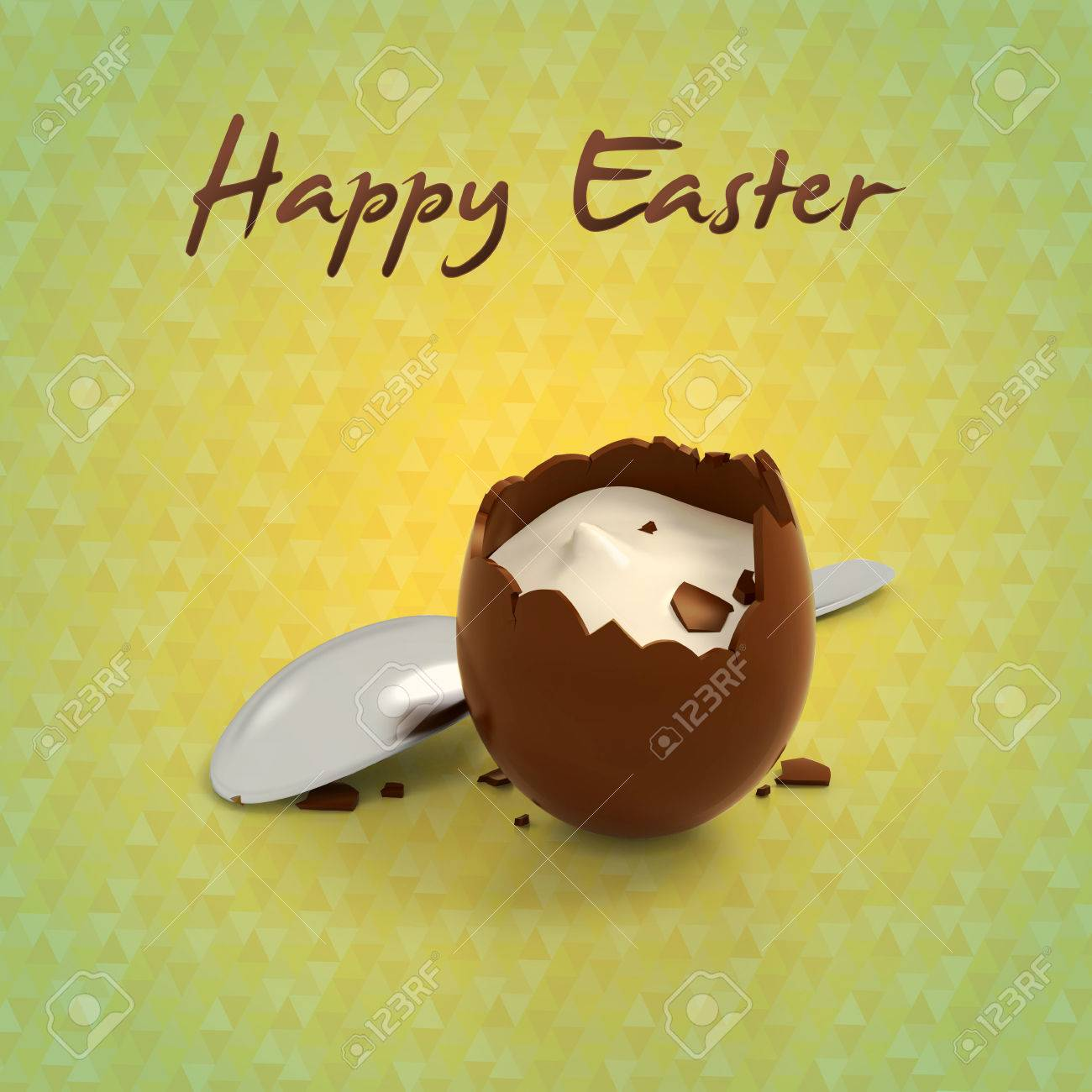Happy Easter Eggs Illustration Of Crashed Chocolate Egg Cream ...