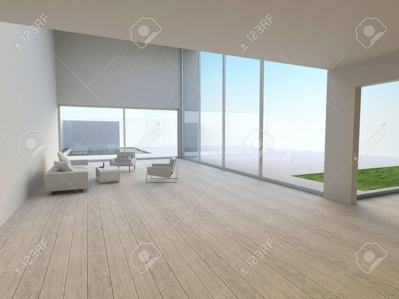 Simple Y Moderno Interior Sala De Estar Con Muebles De Salón Fuera ...