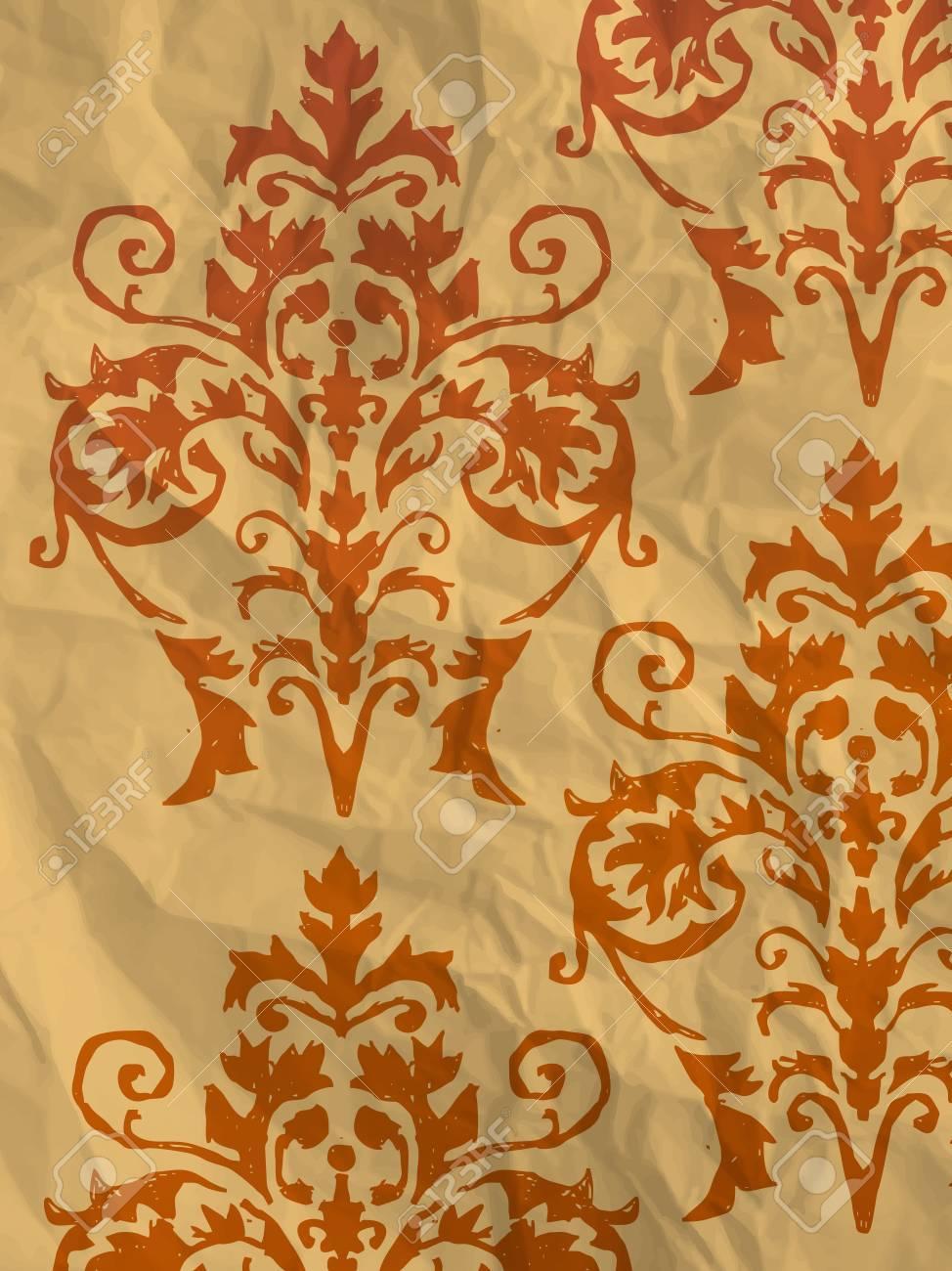 Vintage Papier D Emballage Orange Avec Motif De Papier Peint Sur