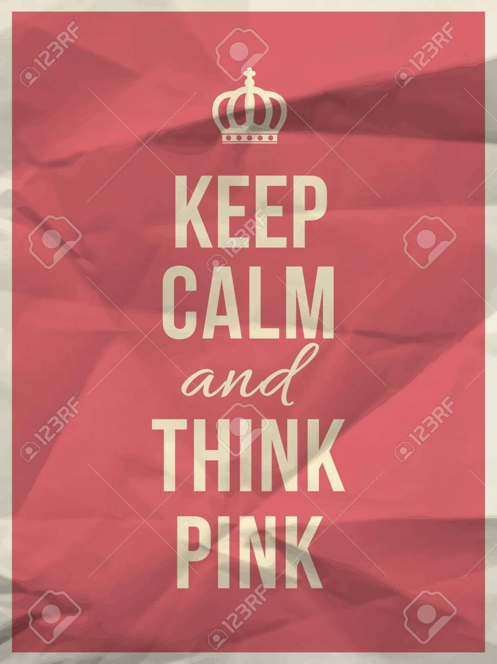 Mantener La Calma Y Pensar Y Cotización De Color Rosa En Rosa ...