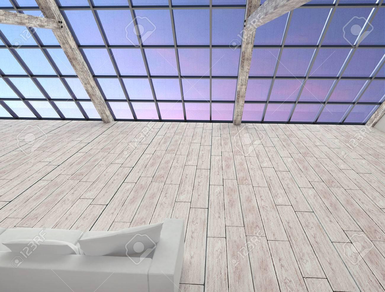 Intérieur grenier avec bureau blanc en bois de grandes fenêtres