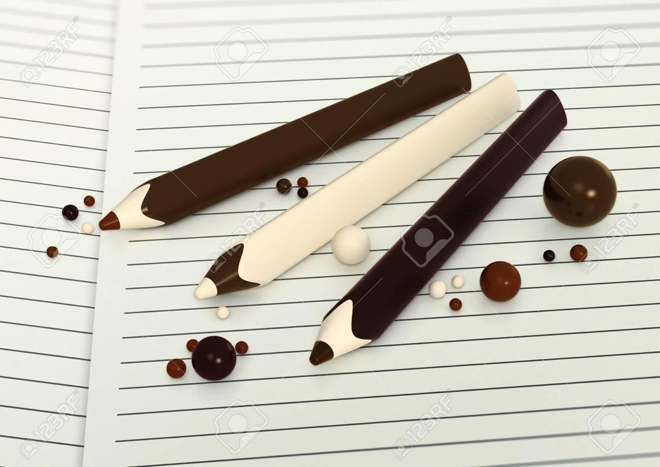 Verschiedene Schokoladenstifte Und Bälle Auf Linie Papierhintergrund ...
