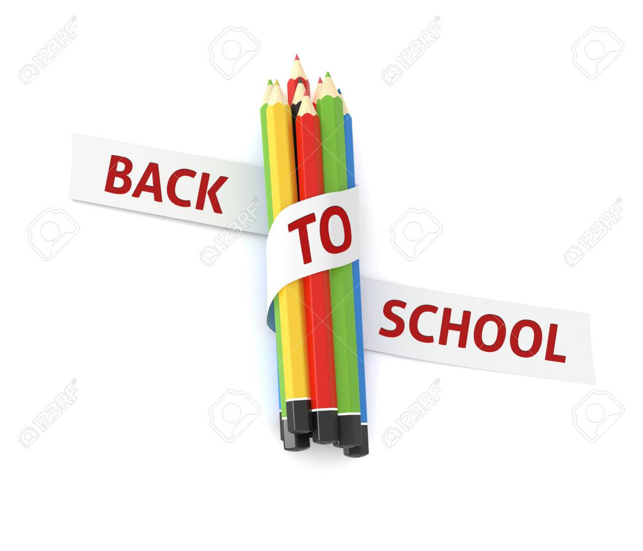 Illustration   Welcome Back To School Quote Embroidered On White Ribbon On  Colorful Crayons   Illustration Concept Isolated Witch Cutting Path