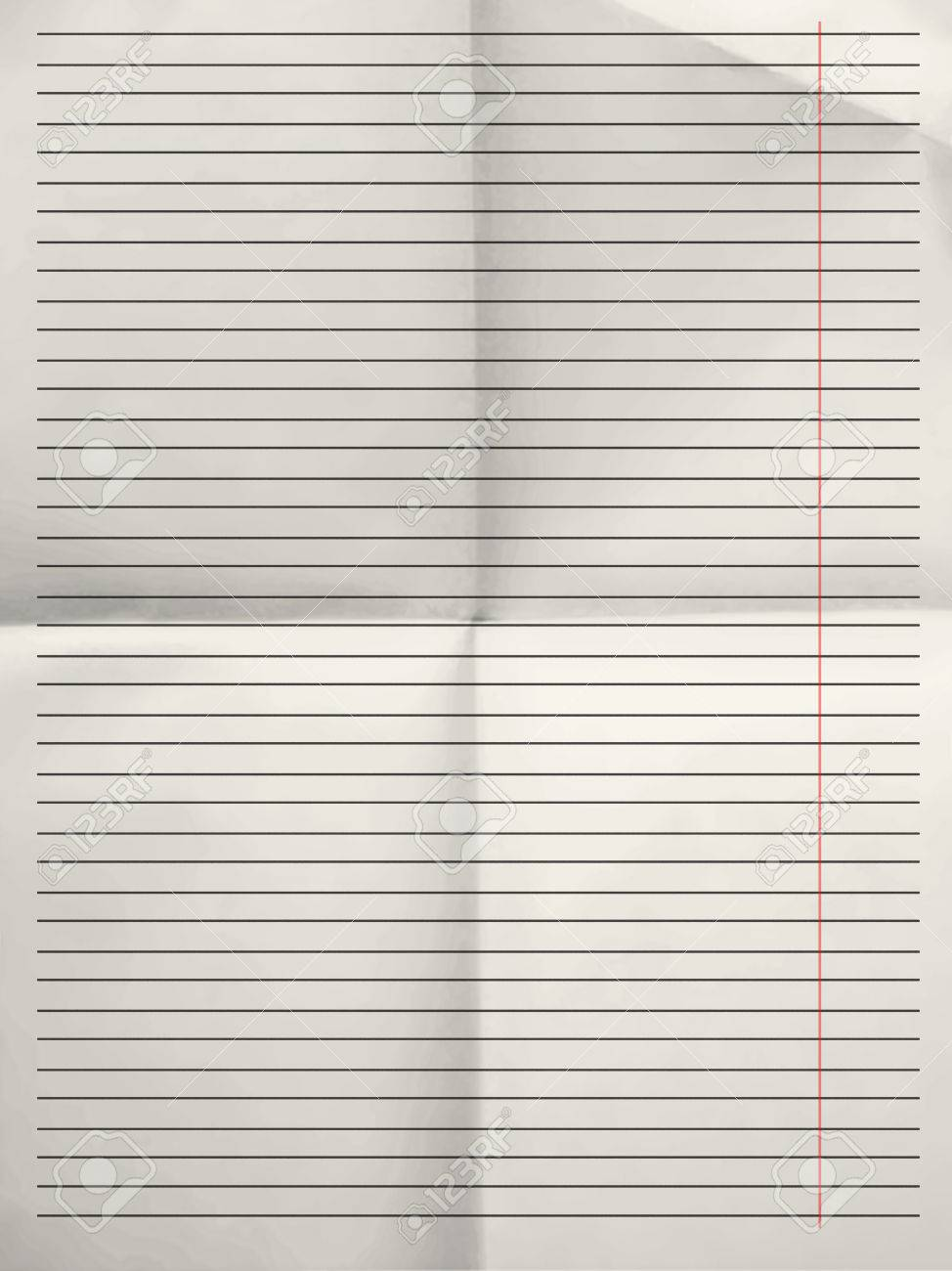Old Sheet Of Grey Lined Paper Background With Red Margin Folded – Lined Paper to Write on