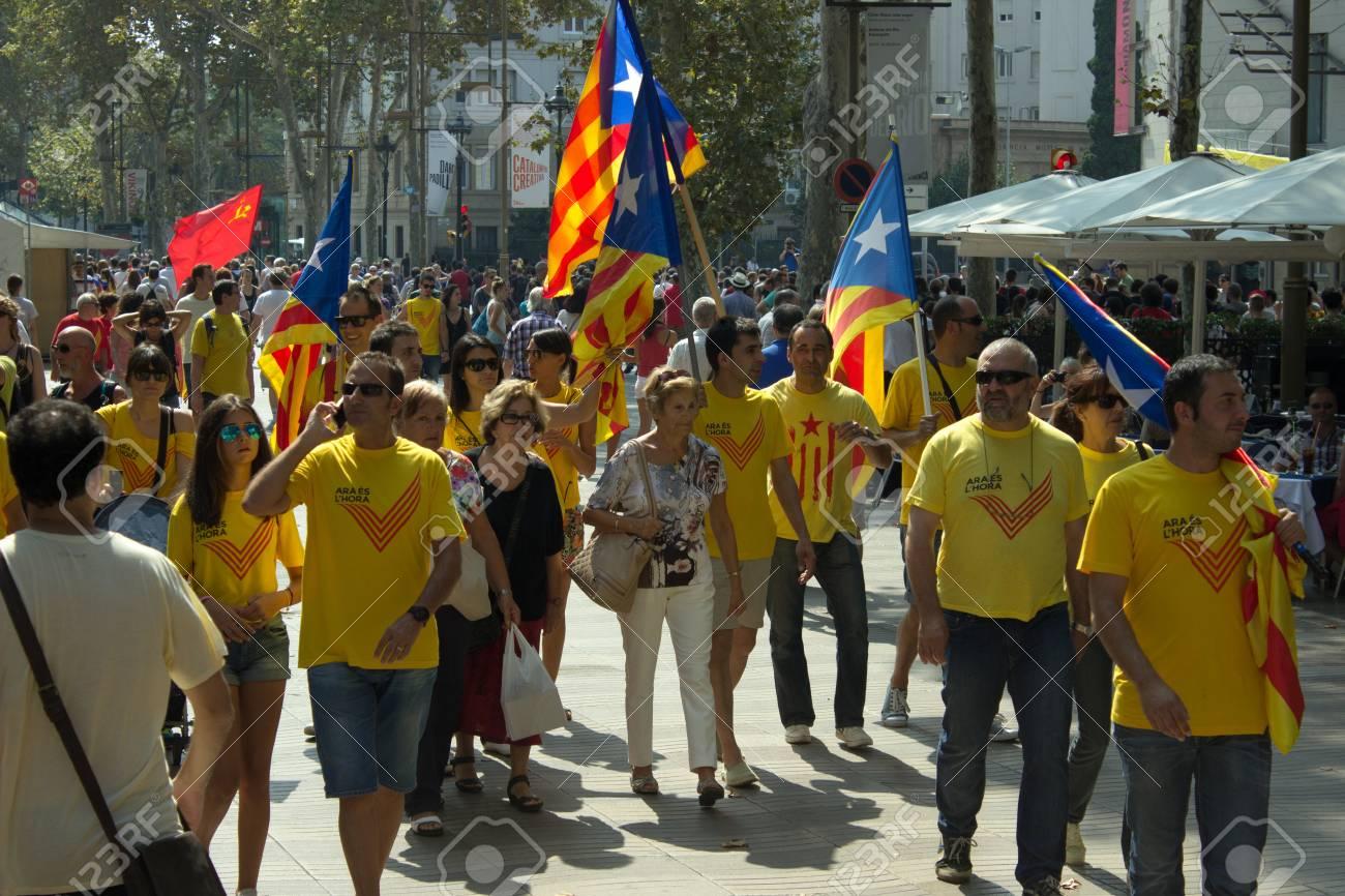 barcelona spain september 11 2014 croud of people