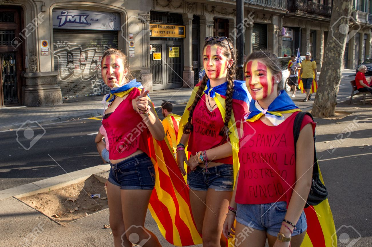 Barcelona Spain Sept 11 Teenagers On The Background Of People Stock Photo Picture And Royalty Free Image Image 31550374