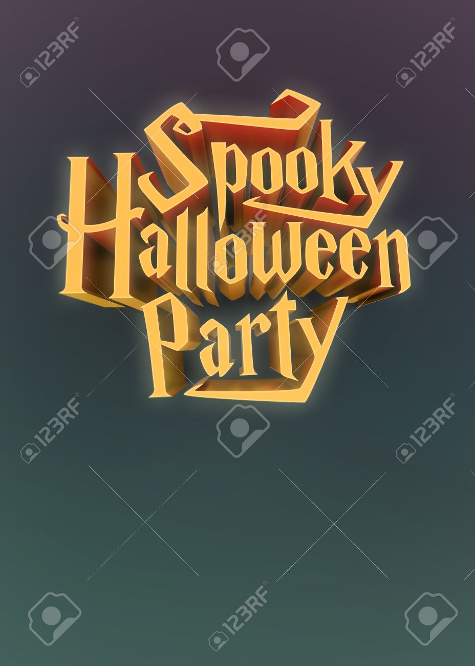 Spooky Halloween Party Glowing Orange Letters 3d For Poster ...