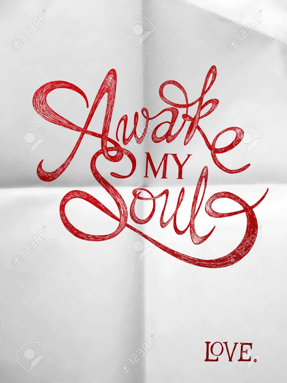 Stock illustration 3d red text quot yes quot stock illustration royalty - Awake My Soul Hand Drawn Quotes On Folded In Four Paper Valentine S Day Stock